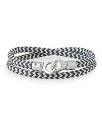 Brace Humanity Men's Double Tour Braided Wrap Bracelet Black White Silver
