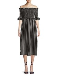 Design Lab Lord And Taylor Smocked Striped Off The Shoulder Dress Black White