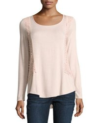 Neiman Marcus Crochet Trim Long Sleeve Top Pink