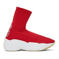 Acne Studios Red 'A' Patch Sock Knit High Top Sneakers