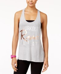 Material Girl Active Juniors' Strappy Graphic Tank Top Only At Macy's Heather Charcoal