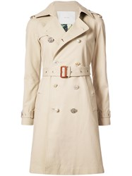 Adam By Adam Lippes Embellished Button Trench Coat Cotton Spandex Elastane Nude Neutrals
