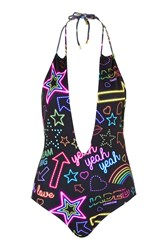 Neon Sign Plunge Swimsuit By Jaded London Multi