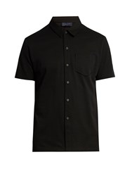 Lanvin Button Front Cotton Pique Polo Shirt Black