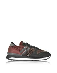 Hogan Rebel Running R261 Black And Burgundy Suede High Tech Fabric And Glitter Women's Sneakers