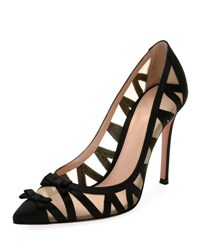 Gianvito Rossi Zigzag Illusion 105Mm Bow Pump Black