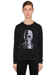 Karl Lagerfeld Photo Embroidered Cotton Sweatshirt