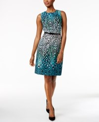 Connected Belted Printed Sheath Dress Teal White Black