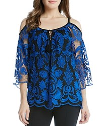 Karen Kane Cold Shoulder Sheer Lace Peasant Blouse Bright Blue