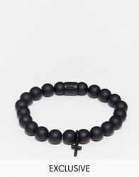 Chained And Able Cross Beaded Bracelet In Black