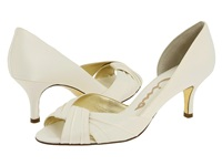 Nina Culver Ivory Satin Women's Slip On Dress Shoes Bone