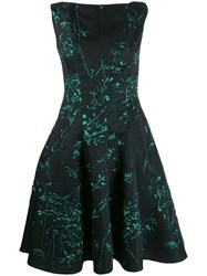 Talbot Runhof Korbut Silk Jacquard Dress Black
