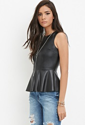 Forever 21 Faux Leather Peplum Top Black