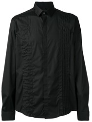 Les Hommes Pleated Chest Formal Shirt Black