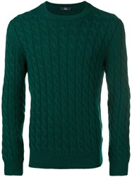 Fay Cable Knit Sweater Green