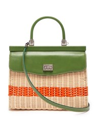 Rodo Leather And Wicker Top Handle Bag Green Multi