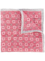Eleventy Floral Pattern Pocket Square Red