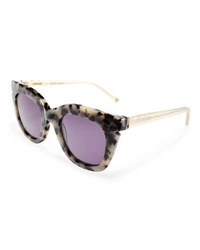 Pared Eyewear Pools And Palms Notched Square Sunglasses White Tortoise