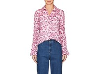 Jourden Ruffle Floral Cotton Shirt Pink