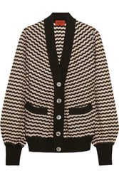Missoni Wool Blend Crochet Knit Cardigan Black