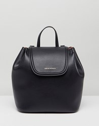 Emporio Armani Empori Leather Backpack With Gold Logo Black