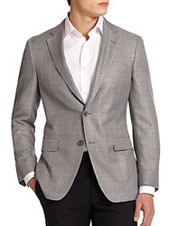 Saks Fifth Avenue By Samuelsohn Wool And Silk Sportcoat Black White