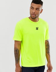 Sik Silk Siksilk Oversized T Shirt With Central Logo In Neon Yellow
