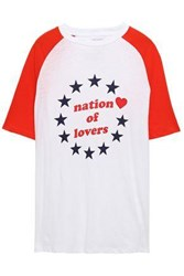 Zoe Karssen Woman Nation Of Lovers Printed Cotton And Linen Blend T Shirt Tomato Red