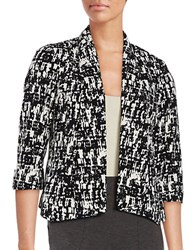 Nipon Boutique Printed Open Front Blazer Black Ivory