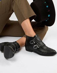 Pimkie Studded Buckle Ankle Boots Black