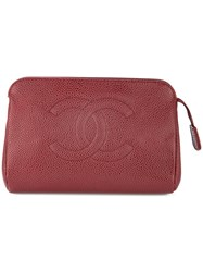 Chanel Vintage Cc Cosmetic Pouch Red