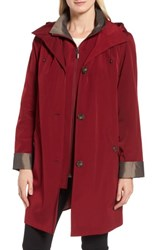 Gallery Women's A Line Raincoat With Detachable Hood And Liner Claret