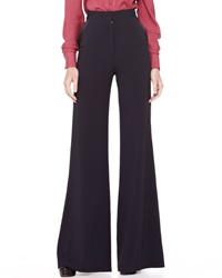 Zac Posen High Waist Wide Leg Trousers Midnight