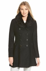 Women's Guess Faux Fur Collar Double Breasted Boucle Coat