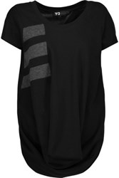 Y 3 Adidas Cutout Striped Cotton Blend Top Black