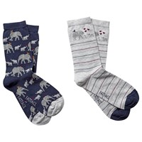 Fat Face Elephant Print Ankle Socks Pack Of 2 Navy Grey