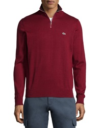 Lacoste Half Zip Knit Pullover Sweater Dark Red