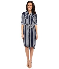 Kut From The Kloth Blake Stipped Shirtdress Navy White Women's Dress Blue