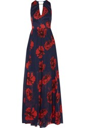 Lela Rose Cutout Printed Cotton Blend Gown Navy