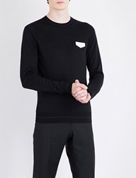 Givenchy Leather Appliqua Wool Jumper Black White