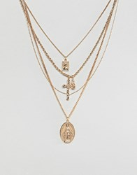 Asos Design Multirow Necklace With Vintage Style Icon And Cross Pendants In Gold Gold