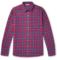 Alex Mill Checked Cotton Flannel Shirt Red
