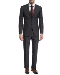 Brioni Herringbone Striped Wool Two Piece Suit Gray