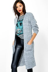 Boohoo Soft Knit Marl Cable Cardigan Silver