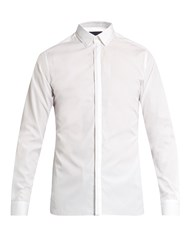 Lanvin Button Cuff Stitch Detail Cotton Poplin Shirt White