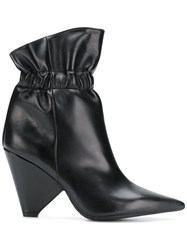 Anna F. Cone Heel Ankle Boots Black