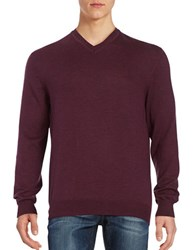 Black Brown Merino Wool V Neck Sweater Plum Heather