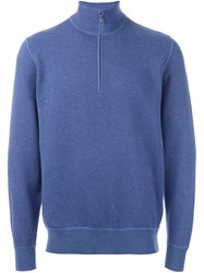 Loro Piana Zipped Roll Neck Jumper Blue