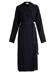 Christophe Lemaire Notch Lapel Twill Wrap Dress Navy