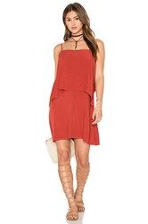 Splendid Sleeveless Overlay Mini Dress Red